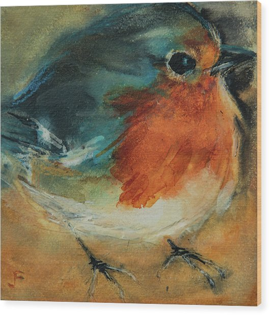 Wood Print featuring the painting European Robin 2 by Jani Freimann