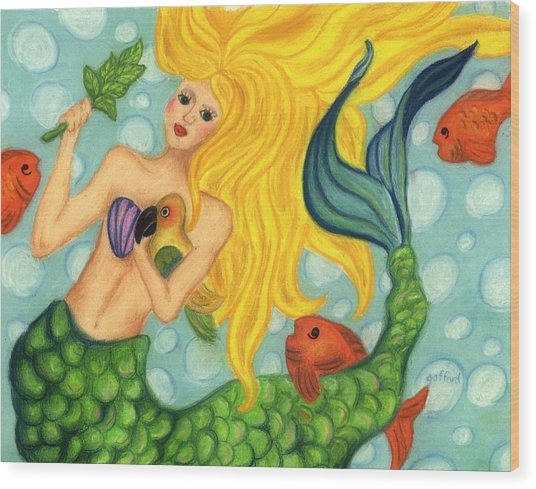 Eve The Mermaid Wood Print
