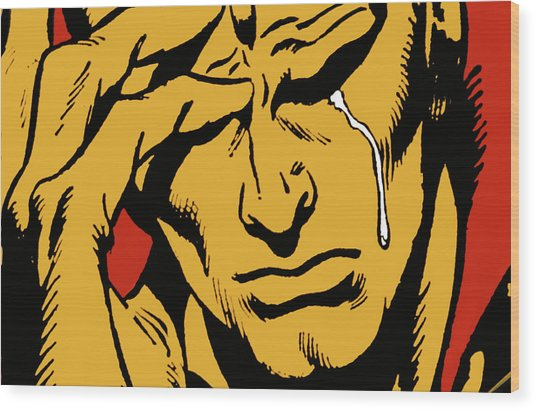 Even An Android Can Cry Wood Print by Brian Middleton