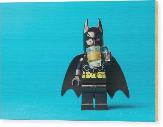 Even Batman Needs A Beer Wood Print