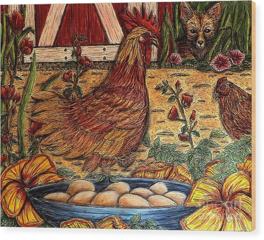 Even Chickens Can Be Heroes Wood Print