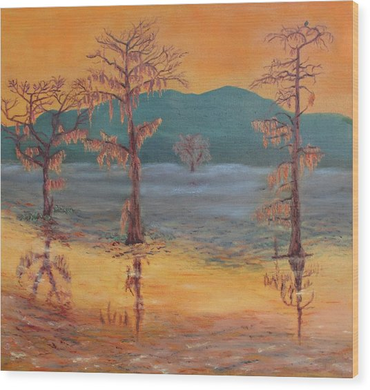 Evening On Caddo Lake Wood Print