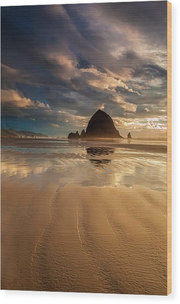 Evening At Haystack Rock Wood Print by Andrew Soundarajan