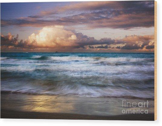 Evening At Kailua Beach Wood Print by Charmian Vistaunet