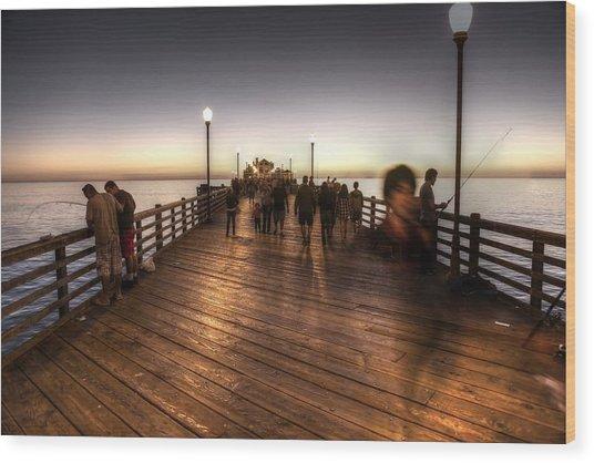 Evening At Oceanside Pier Wood Print