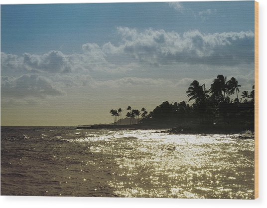 Evening At Poipiu Kauai Wood Print