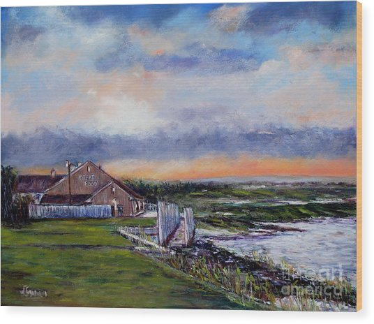 Evening At The Bay Wood Print by Joyce A Guariglia