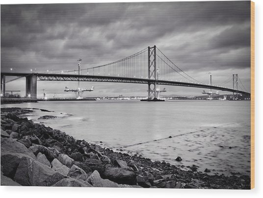 Evening At The Forth Road Bridges Wood Print