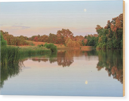 Evening At The Lake Wood Print