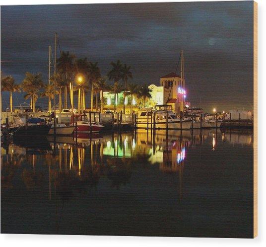 Evening At The Marina Wood Print by Kimberly Camacho