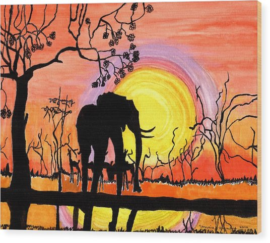 Evening At The Pond Wood Print