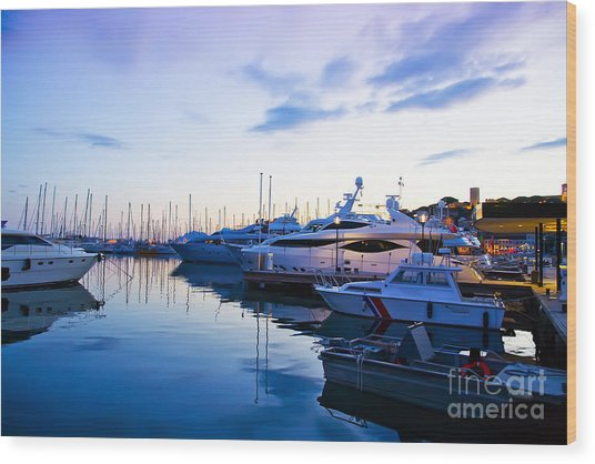 evening at water in Cannes Wood Print