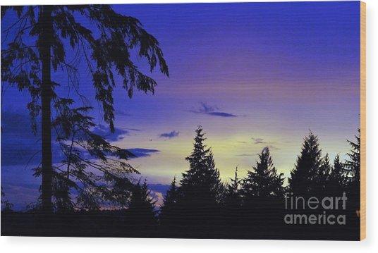Evening Blue Wood Print