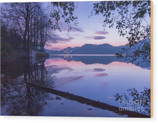 Evening By The Lake Wood Print