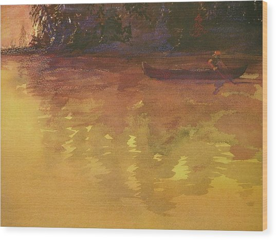 Evening Canoe Ride Wood Print by Walt Maes