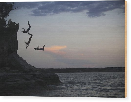 Evening Cliff Jump Wood Print