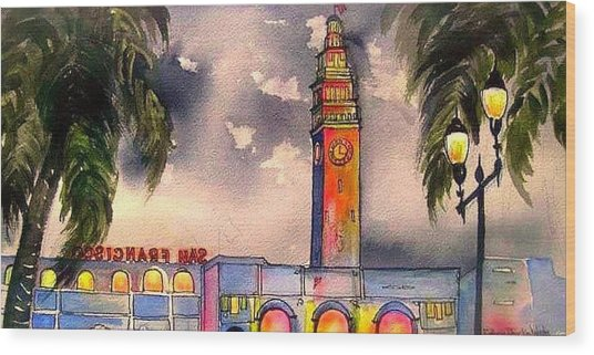 Evening Comes Ferry Building Wood Print