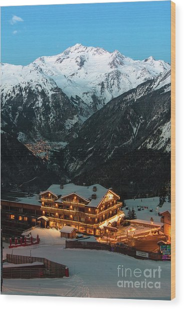 Evening Comes In Courchevel Wood Print