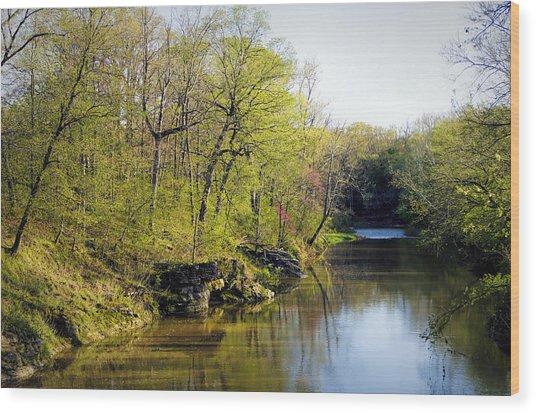 Evening Falls On Cedar Creek Wood Print