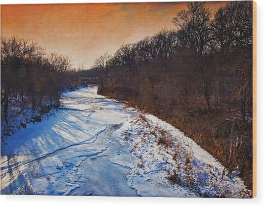 Evening Frozen Creek Wood Print