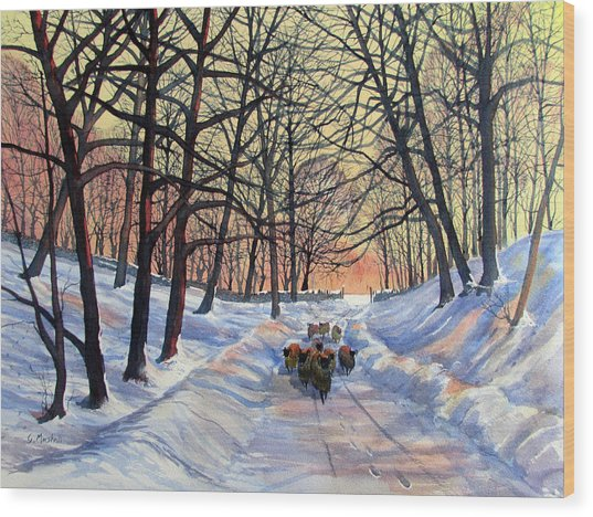 Evening Glow On A Winter Lane Wood Print