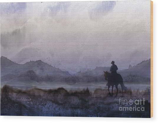 Evening Horseback Ride Wood Print