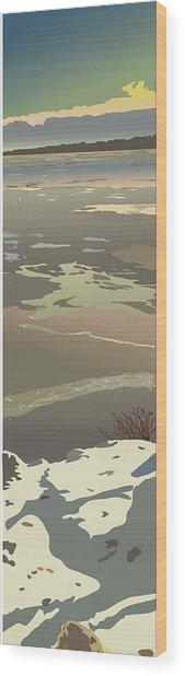 Evening Ice Glow Wood Print by Marian Federspiel