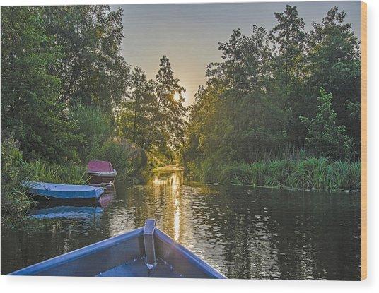 Evening In Loosdrecht Wood Print