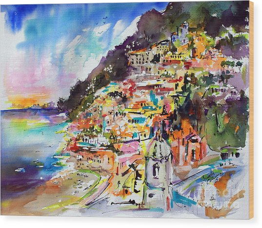 Evening In Positano Italy Wood Print