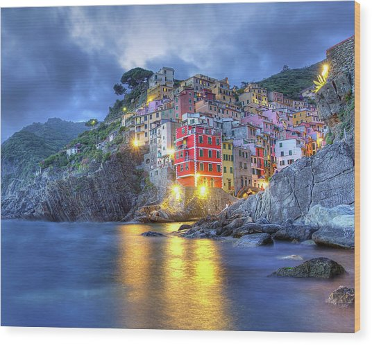 Evening In Riomaggiore Wood Print