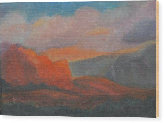 Evening In Sedona Wood Print by Stephanie Allison