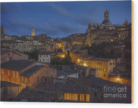 Evening In Siena Wood Print
