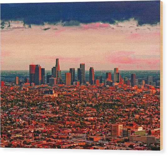 Evening In The City Of The Angels Wood Print