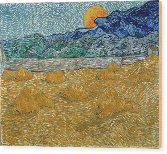 Wood Print featuring the painting Evening Landscape With Rising Moon by Van Gogh