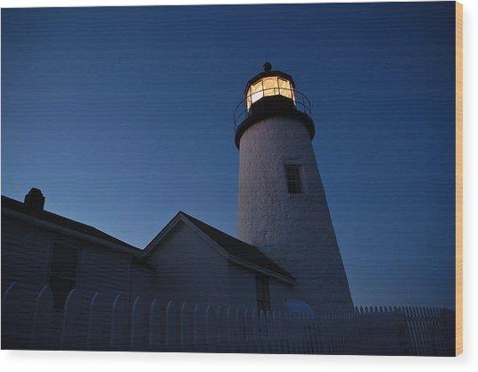 Evening Lighthouse Pemequid Point Me Wood Print by Richard Danek