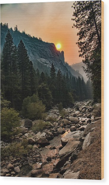 Evening On The Merced River Wood Print