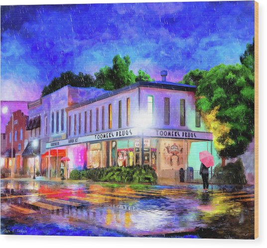 Wood Print featuring the mixed media Evening Rain In Auburn by Mark Tisdale