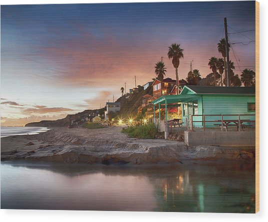 Evening Reflections, Crystal Cove Wood Print