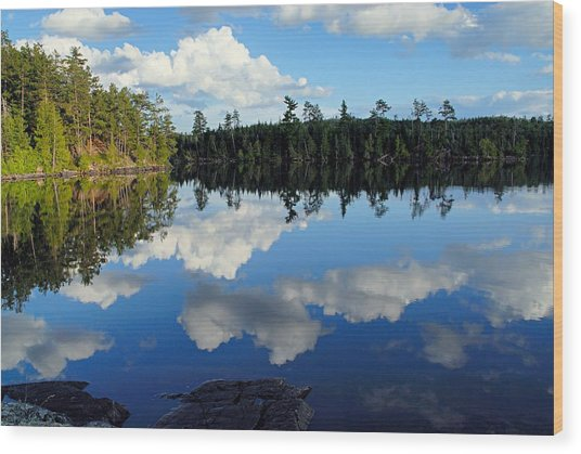 Evening Reflections On Spoon Lake Wood Print