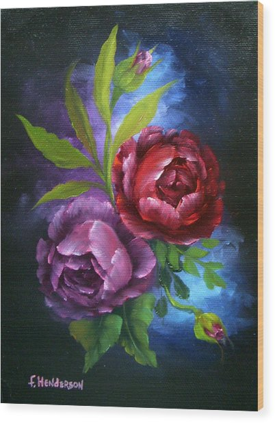 Evening Roses Wood Print