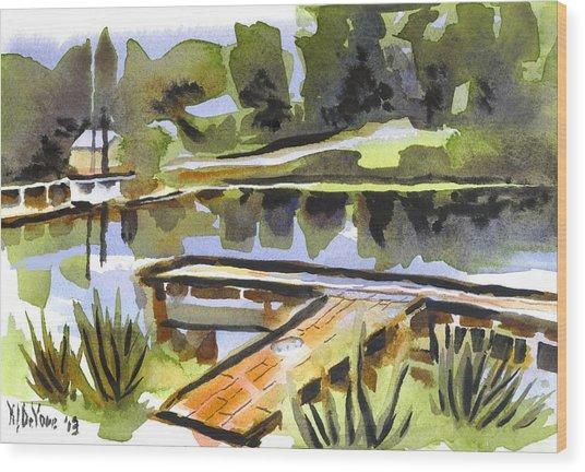 Evening Shadows At Shepherd Mountain Lake Wood Print
