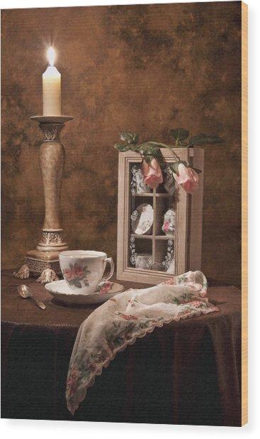Evening Tea Still Life Wood Print