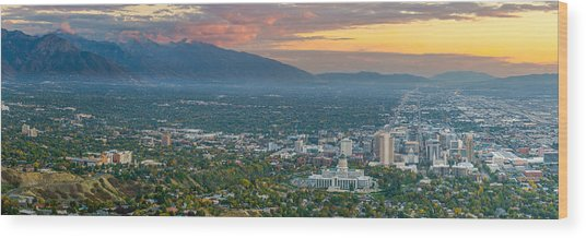 Evening View Of Salt Lake City From Ensign Peak Wood Print