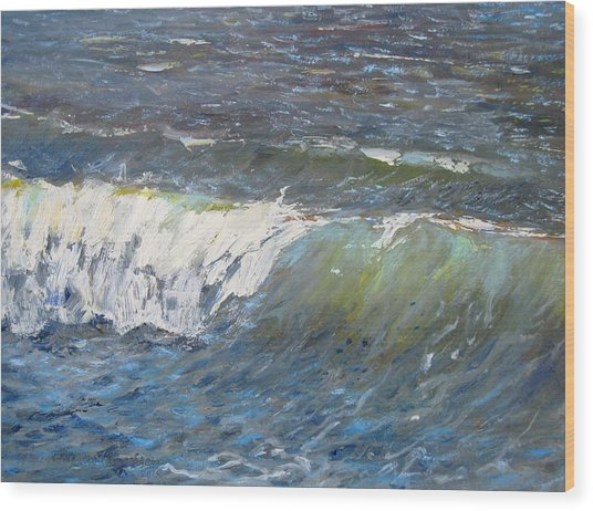 Evening Wave Wood Print by Thomas Glass Phinnessee