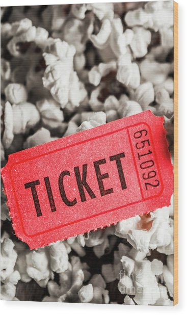 Event Ticket Lying On Pile Of Popcorn Wood Print