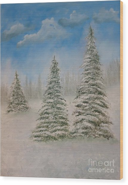 Evergreens In Snow  Wood Print