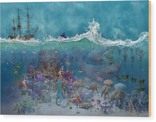 Everything Under The Sea Wood Print