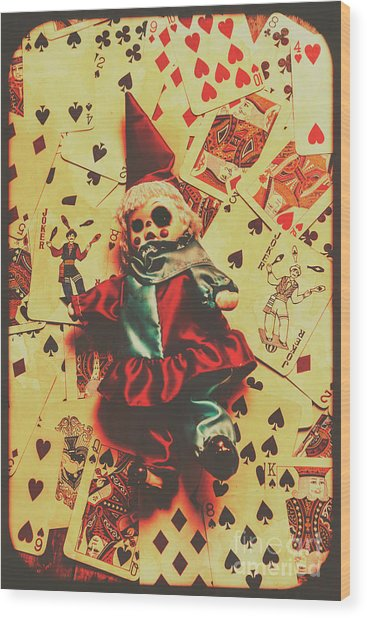 Evil Clown Doll On Playing Cards Wood Print