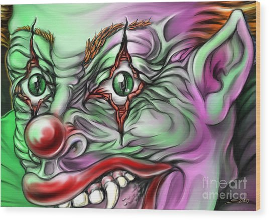 Evil Clown Eyes Wood Print