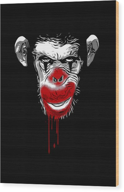 Evil Monkey Clown Wood Print